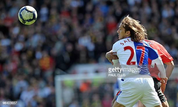 Blackburn Rovers' Spanish defender Michel Salgado vies with Manchester United's Portuguese midfielder Nani during the English Premier League...