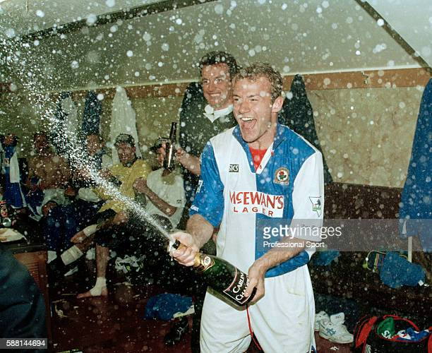 Blackburn Rovers striker Alan Shearer celebrating following their match against Liverpool at Anfield 14th May 1995