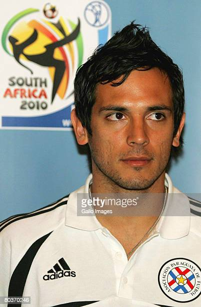 Blackburn Rovers striker and Paraguay captain Roque Santa Cruz attends a Paraguay Press confrence held at the Sheraton Hotel on March 25 in Pretoria...