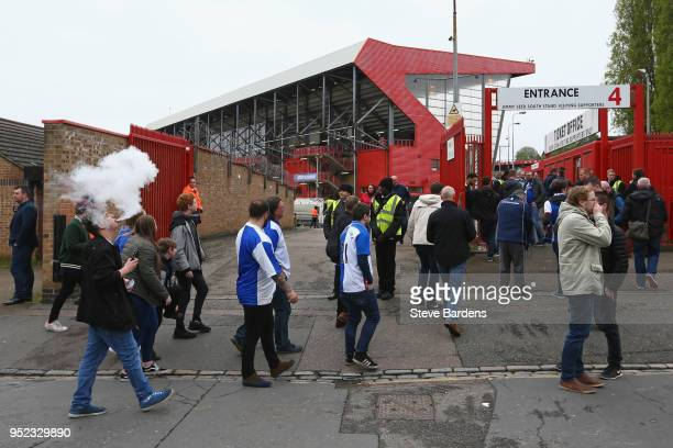 Blackburn Rovers supporters arrive at the Valley prior to the Sky Bet League One match between Charlton Athletic and Blackburn Rovers at The Valley...