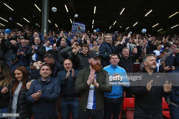 Blackburn Rovers supporters enjoy the atmosphere prior to the Sky Bet League One match between Charlton Athletic and Blackburn Rovers at The Valley...