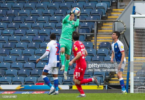 Blackburn Rovers' Thomas Kaminski catches a cross during the Sky Bet Championship match between Blackburn Rovers and Nottingham Forest at Ewood Park...