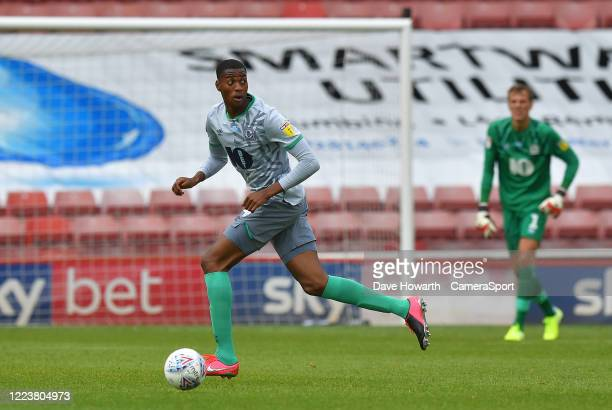 Blackburn Rovers' Tosin Adarabioyo during the Sky Bet Championship match between Barnsley and Blackburn Rovers at Oakwell Stadium on June 30, 2020 in...