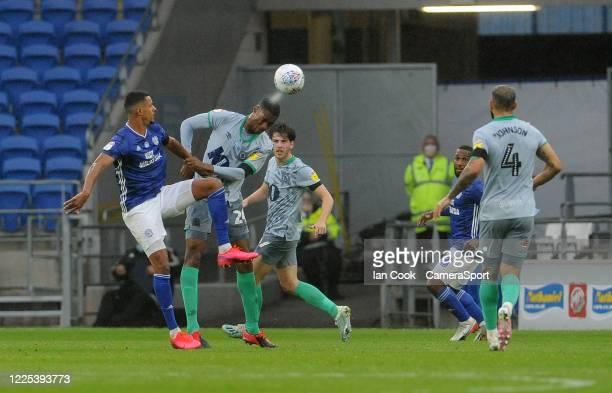 Blackburn Rovers' Tosin Adarabioyo heads the ball during the Sky Bet Championship match between Cardiff City and Blackburn Rovers at Cardiff City...