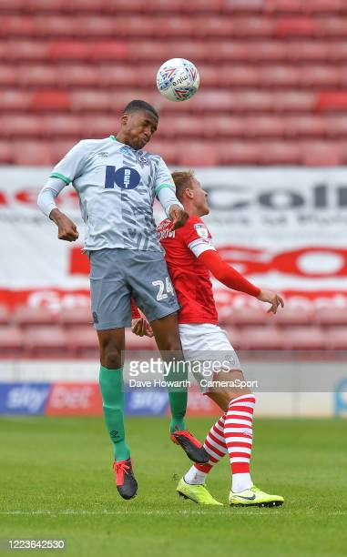 Blackburn Rovers' Tosin Adarabioyo out jumps Barnsley's Patrick Schmidt during the Sky Bet Championship match between Barnsley and Blackburn Rovers...