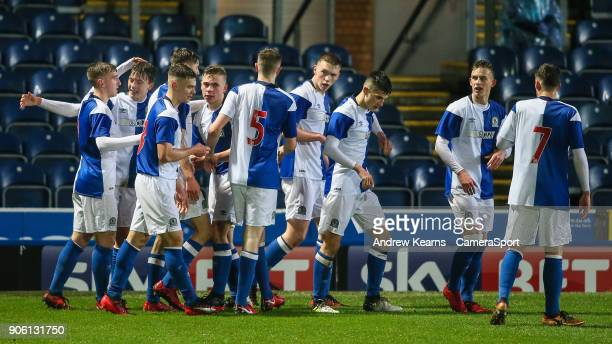 Blackburn Rovers U18s' Callum Wright celebrates scoring his side's first goal from the penalty spot with team mates during the FA Youth Cup Fourth...