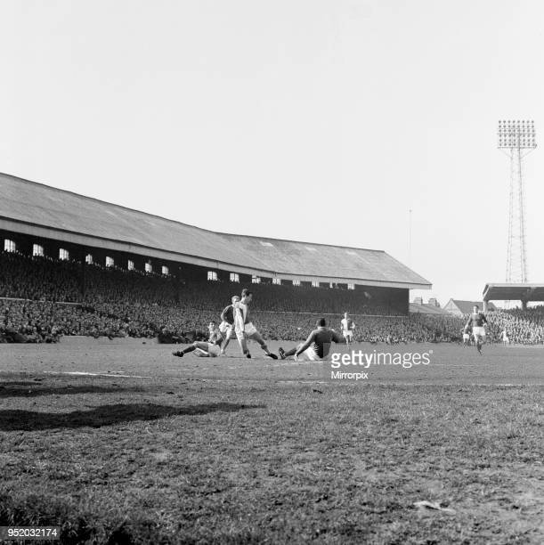 Blackburn Rovers v Manchester United, league match at Ewood Park, Saturday 3rd April 1965. Bryan Douglas is beaten by United keeper Pat Dunne. Final...
