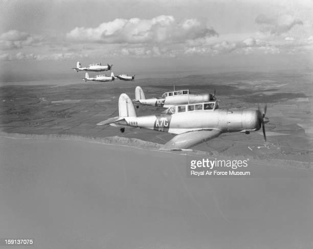 Blackburn Skua Mk IIs of 803 Squadron in formation over coast 1939