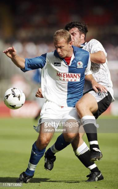 Blackburn striker Alan Shearer holds off the challenge of David Unsworth during the 1995 FA Charity Shield match between Blackburn Rovers and Everton...