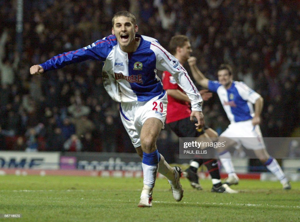 Blackburn Rovers' David Bentley celebrat : News Photo