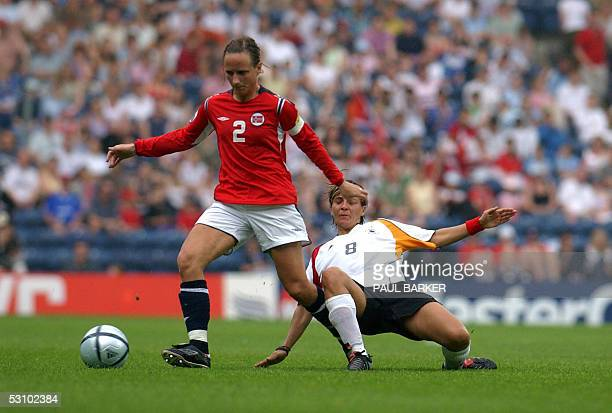 Germany's Sandra Smisek vies for the ball with Norway's Ane Stangeland during the Final of the European Women's Championship football match at Ewood...