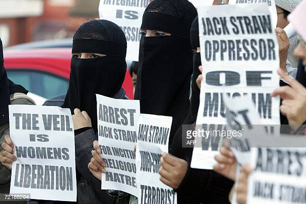 Muslim woman protest outside Bangor Street Community centre in Blackburn northwest England 14 October 2006 where the leader of the House of Commons...