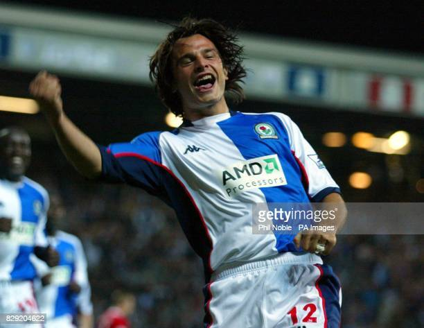 Blackburn's Corrado Grabbi celebrates after scoring during the FA Barclaycard Premiership game at Ewood Park Blackburn THIS PICTURE CAN ONLY BE USED...