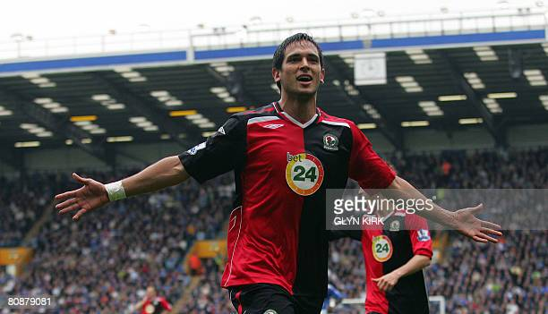 Blackburn's Paraguay striker Roque Santa Cruz celebrates scoring a goal during their Premier League match against Portsmouth at Fratton Park...