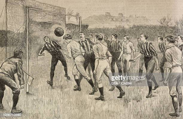 Blackburns Rovers vs Notts County, Football Association Challenge Cup match at Kennington Oval, London, United Kingdom, engraving from The...