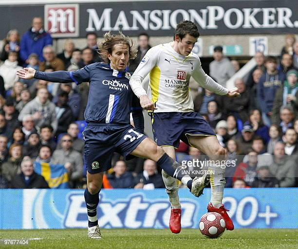 Blackburn's Spanish defender Michel Salgado vies with Tottenham's Welsh player Gareth Bale during the English Premier League football match between...