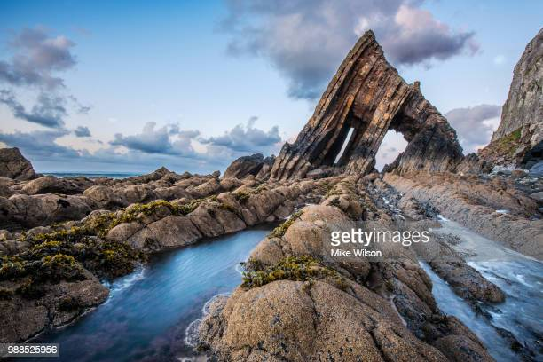 blackchurch rock, north devon, uk - rock formation stock photos and pictures