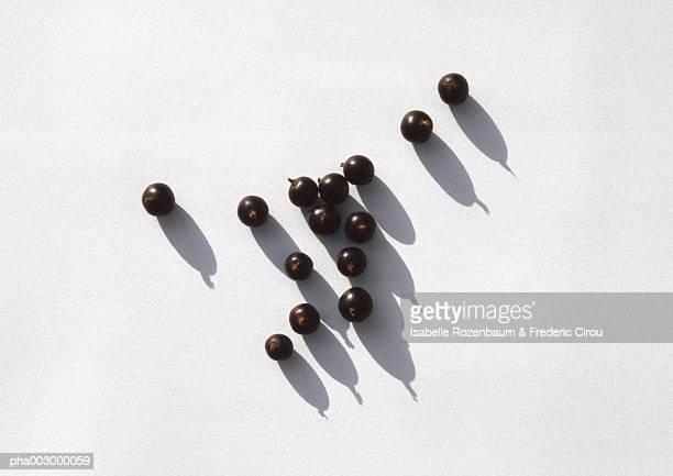 Blackcurrants against white background