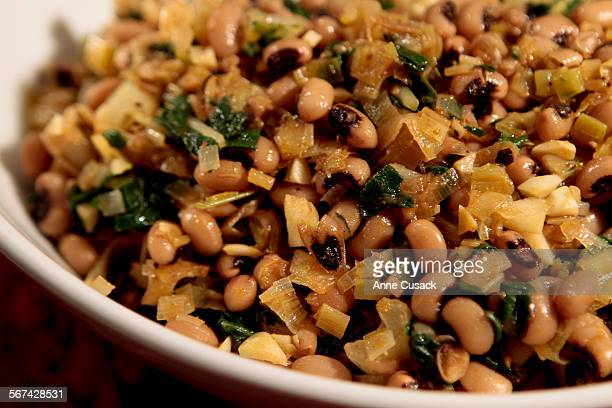 Black–Eyed Peas with Leeks and Chard for food shoot in the Los Angeles Times via Getty Images Studio on September 6 2012