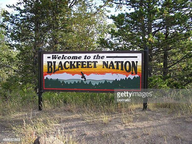 blackfeet nation sign - native american reservation stock pictures, royalty-free photos & images
