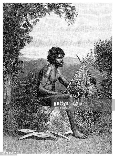 'Blackfellow Mending His Net' Australia 1886 An aboriginal man repairing his net Wood engraving from 'Picturesque Atlas of Australasia Vol II' by...