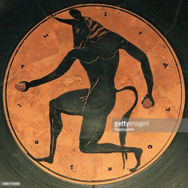 BlackFigure Attic Greek kylix depicting the Minotaur from the Theseus myth by the Painter of London blackfigure pottery circa 515 BC From the...