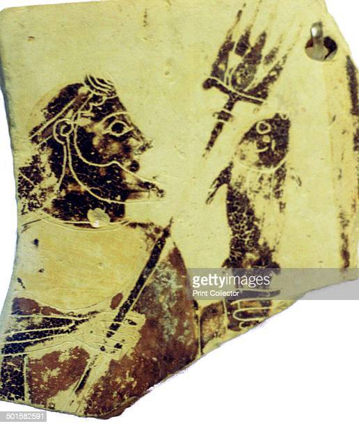 A blackfigure Greek pottery fragment with the image of Poseidon