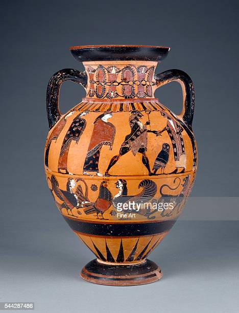 BlackFigure Neck Amphora with Griffins and a Procession c 570560 BC terracotta made in Euboea Greece 356 x 232 cm The J Paul Getty Museum Villa...