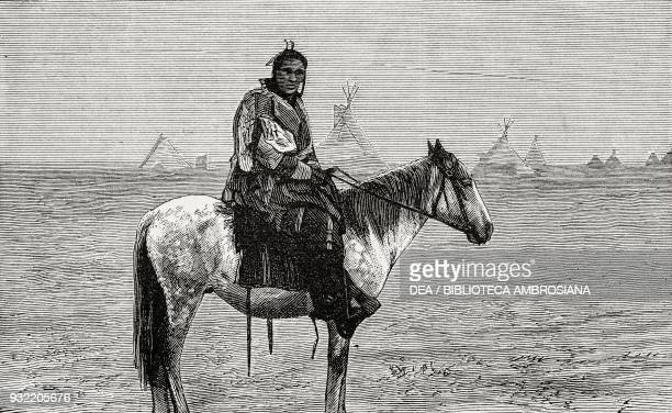 A Blackfoot chief regarding the invasion of his hunting ground by the railway Canada views on the Canadian Pacific Railway engraving illustration...