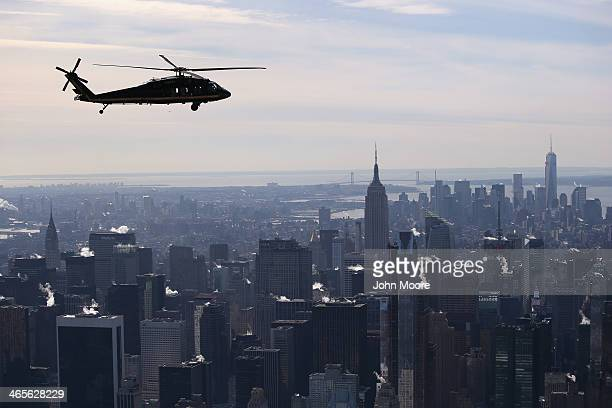 Blackhawk helicopter flown by US Customs and Border Protection flies over Manhattan in route to MetLife Stadium on January 28 2014 in New York City...