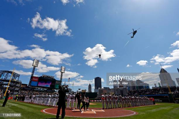Blackhawk helicopters are seen during a flyover before the game between the Pittsburgh Pirates and the St. Louis Cardinals at the home opener at PNC...