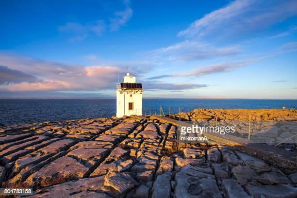 Blackhead Lighthouse Irish coastline in summer, Cliffs Of Moher area, Spanish Point, Burren, Ireland