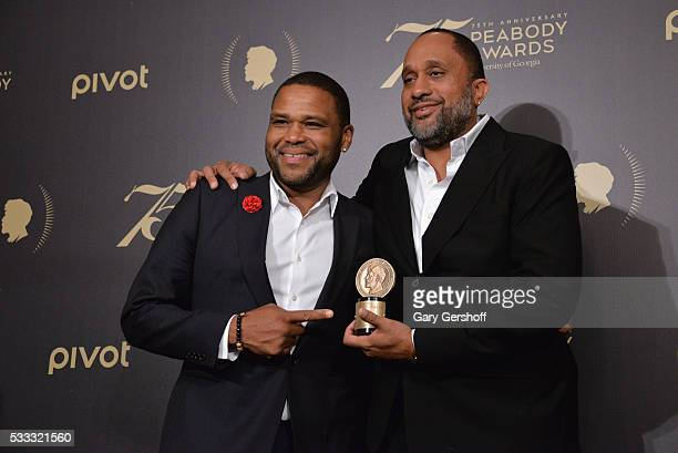 Blackish Actor Anthony Anderson and Program creator Kenya Barris pose with their award at The 75th Annual Peabody Awards Ceremony at Cipriani Wall...