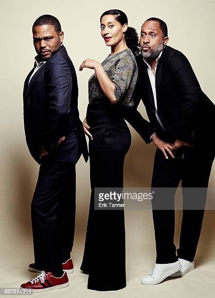'Blackish' actors Anthony Anderson Tracee Ellis Ross and creator and writer Kenya Barris pose for a portrait at the 75th Annual Peabody Awards...