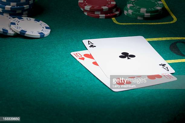 a blackjack hand displaying twenty-one - gambling table stock pictures, royalty-free photos & images