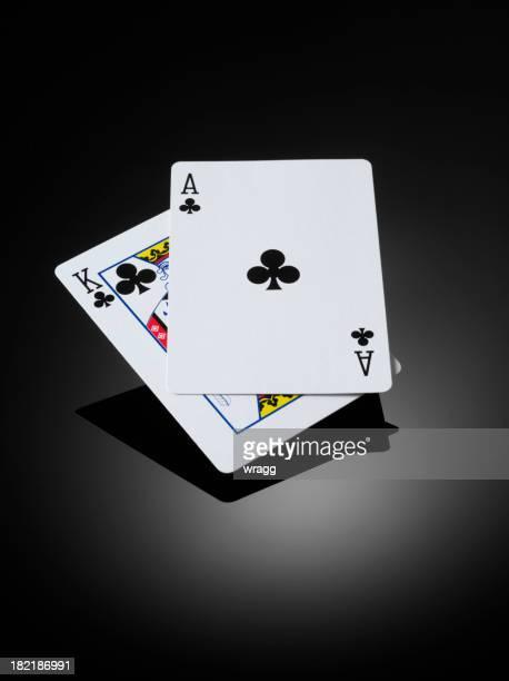 Blackjack, lit King (très grand lit) et as dans les cartes