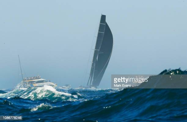 Blackjack sails south during the start of the Sydney to Hobart Yacht race on December 26 2018 in Sydney Australia