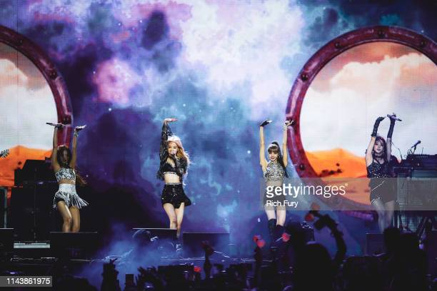Blackpink perform at Sahara Tent during the 2019 Coachella Valley Music And Arts Festival on April 19, 2019 in Indio, California.