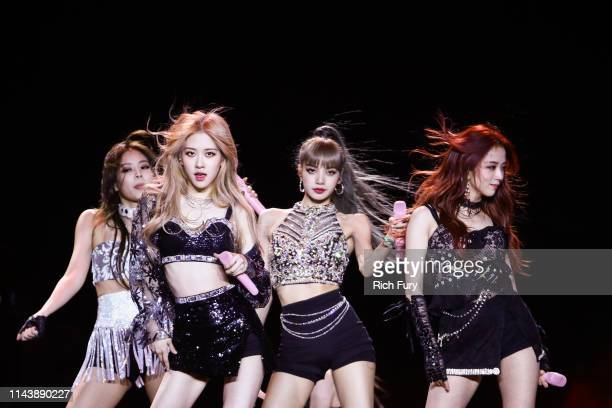 Blackpink perform at the Sahara Tent during the 2019 Coachella Valley Music And Arts Festival on April 19 2019 in Indio California