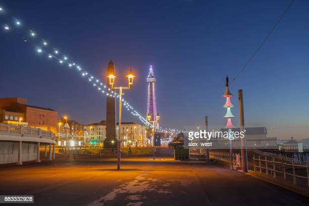 Blackpool blue hour view.
