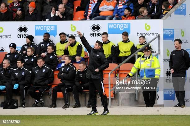 Blackpool caretaker manager Barry Ferguson gestures on the touchline