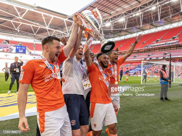 Blackpool celebrate victory during the Sky Bet League One Play-off Final match between Blackpool and Lincoln City at Wembley Stadium on May 30, 2021...