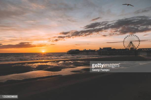 blackpool central pier and ferris wheel, lancashire, uk. beautiful sunset, soft colours. perfect evening. - pier stock pictures, royalty-free photos & images