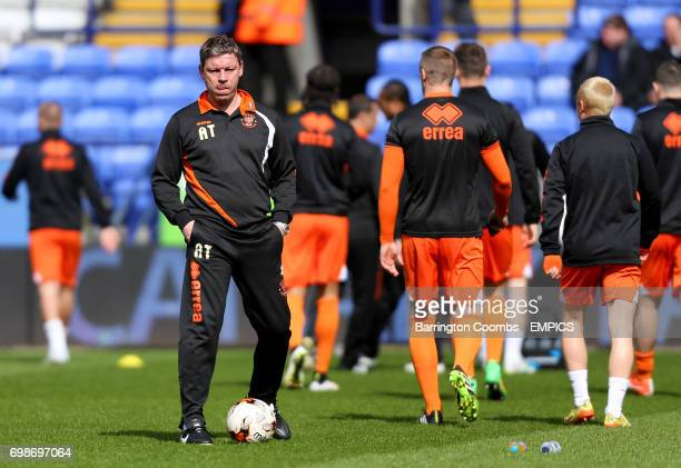 Blackpool coach Alan Thompson with players during prematch training