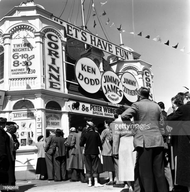 Blackpool England A number of holidaymakers are pictured queuing at the Corine Theatre to watch the 'Let's Have Fun' show starring Ken Dodd Jimmy...