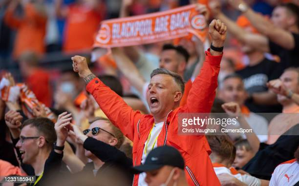 Blackpool fans celebrate Kenny Dougalls equaliser during the Sky Bet League One Play-off Final match between Blackpool and Lincoln City at Wembley...