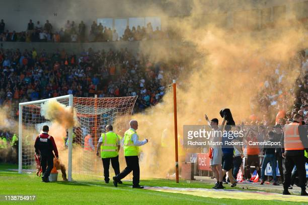 Blackpool fans celebrate their team's winning goal during the Sky Bet League One match between Blackpool and Fleetwood Town at Bloomfield Road on...