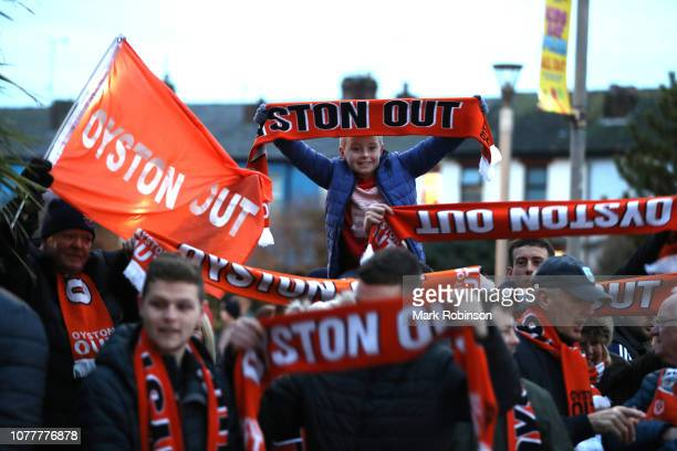 Blackpool fans protest outside the stadium prior to the FA Cup Third Round match between Blackpool and Arsenal at Bloomfield Road on January 5 2019...