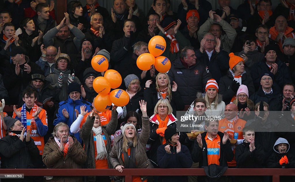Blackpool fans show their support prior to the FA Cup sponsored by Budweiser third round match between Fleetwood Town and Blackpool at Highbury Stadium on January 7, 2012 in Fleetwood, England.