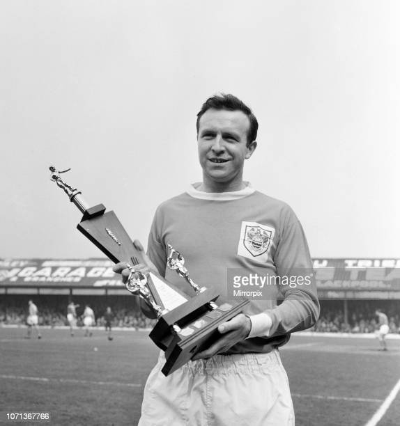 Blackpool FC footballer receives his player of the year Award at Bloomfield Road ahead of the league match against Sheffield United 8th April 1966